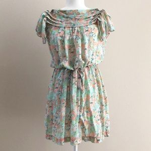 MAX STUDIO Pastel Floral Short Dress Size S